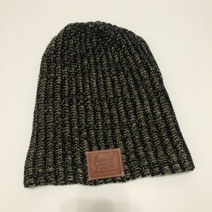Love Your Melon Black Slouchy Beanie Hat One Size